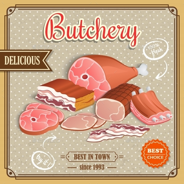 GraphicRiver Retro Meat Poster 9032648