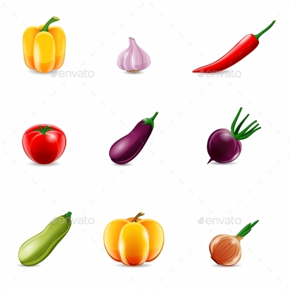 GraphicRiver Vegetables Realistic Icons 9032665
