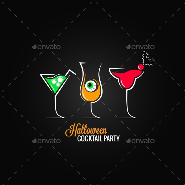 GraphicRiver Halloween Party Cocktails Menu Design Background 9032673
