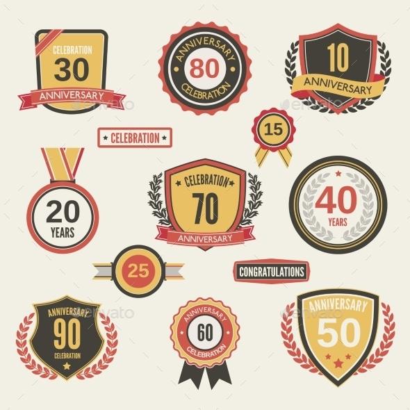 GraphicRiver Anniversary Label Set 9032751