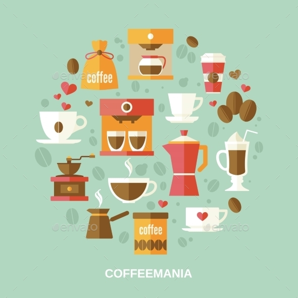 GraphicRiver Coffee Flat Circle 9032781