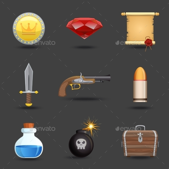 GraphicRiver Game Resources Icons 9032994