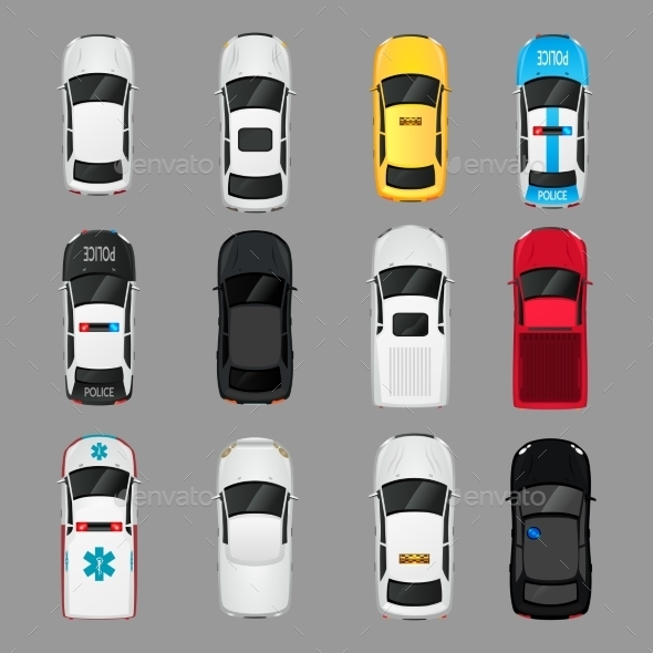 GraphicRiver Cars Icons Top View 9033063