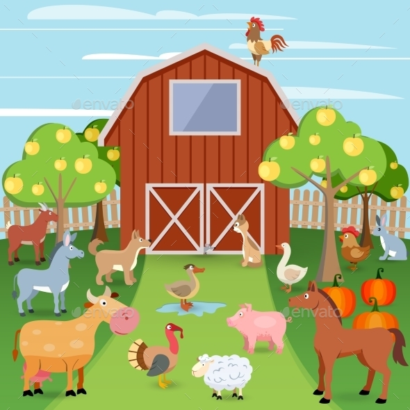 GraphicRiver Farm with Animals 9033078