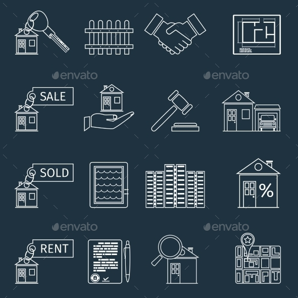 GraphicRiver Real Estate Outline Icons 9033105