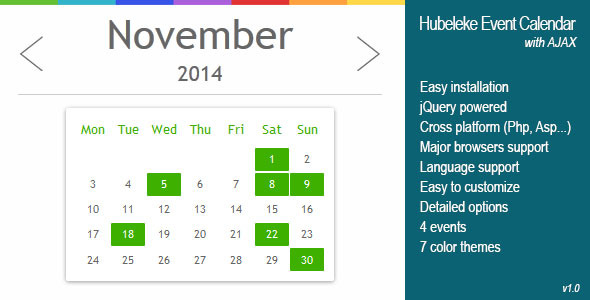 CodeCanyon jQuery Events Calendar via Ajax 9033165