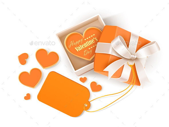 GraphicRiver Open Gift Box with Hearts and Label 9033204
