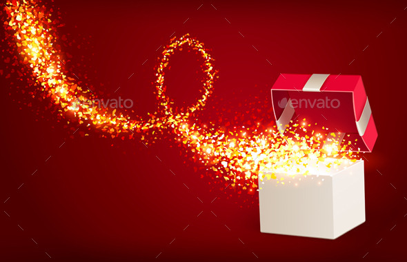 GraphicRiver Open Gift Box with Magic Hearts 9033219