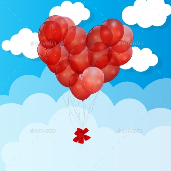 GraphicRiver Balloon Heart Vector Illustration Background 9033422