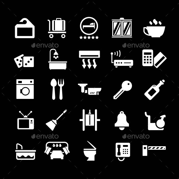 GraphicRiver Set Icons of Hotel Hostel and Rent Apartments 9033436