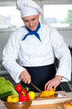Chef cutting vegetables in kitchen - PhotoDune Item for Sale