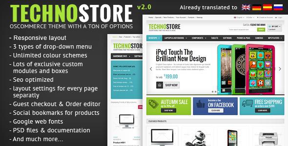 TechnoStore Responsive osCommerce with Powerful Settings - Technology osCommerce