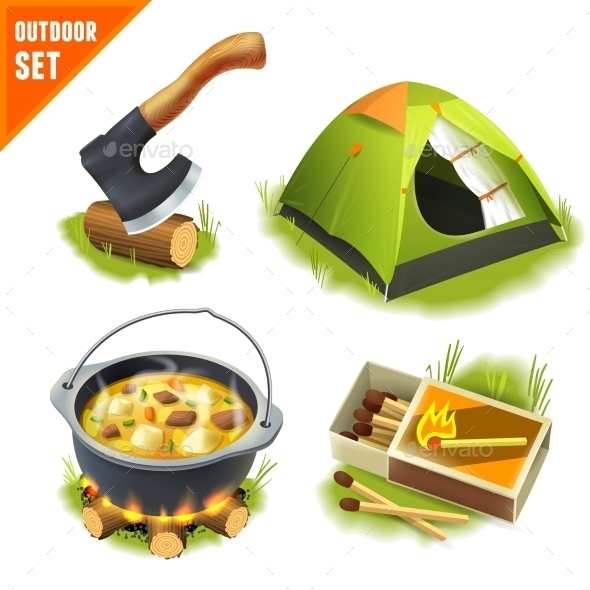 GraphicRiver Camping Icons Set 9033766