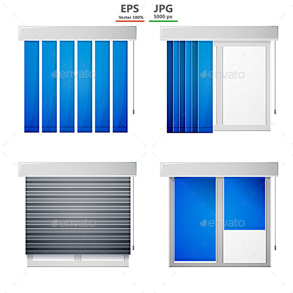 GraphicRiver Vector Icons for Window Louvers 9033772