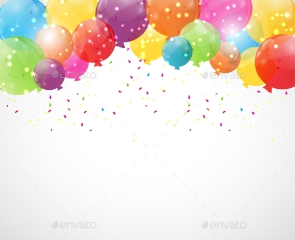 GraphicRiver Color Glossy Balloons Background Vector Illustration 9033787