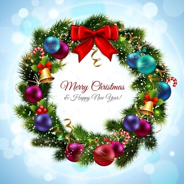 GraphicRiver Christmas Wreath Postcard 9033788