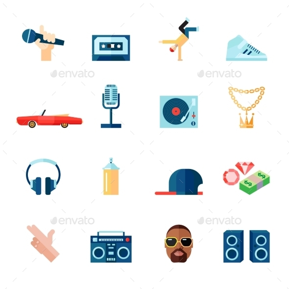 GraphicRiver Rap Music Icons Set Flat 9033795