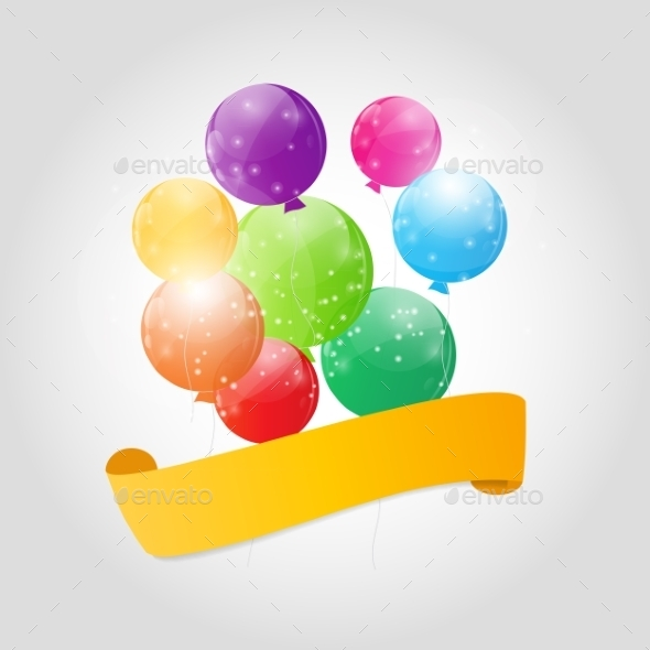 GraphicRiver Color Glossy Balloons Background Vector Illustration 9033796