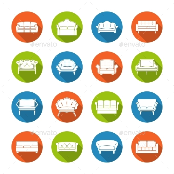 GraphicRiver Sofa Icons Flat 9033797