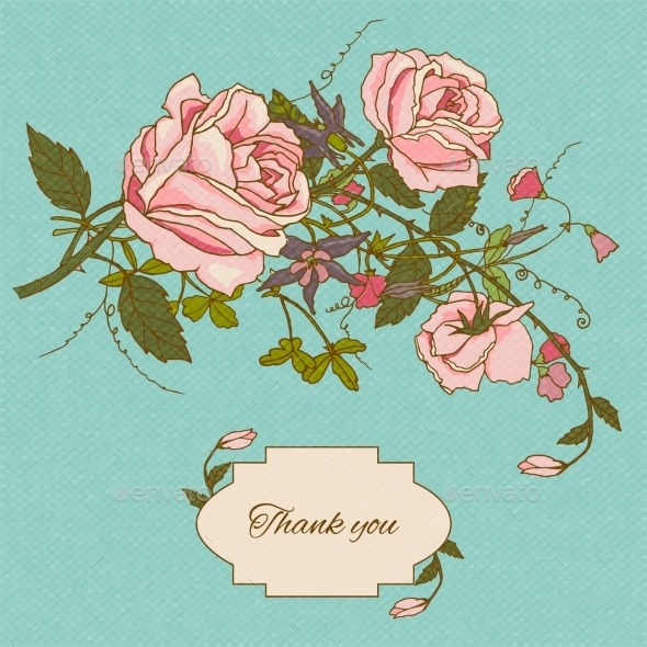 GraphicRiver Vintage Flowers Card Color 9033819