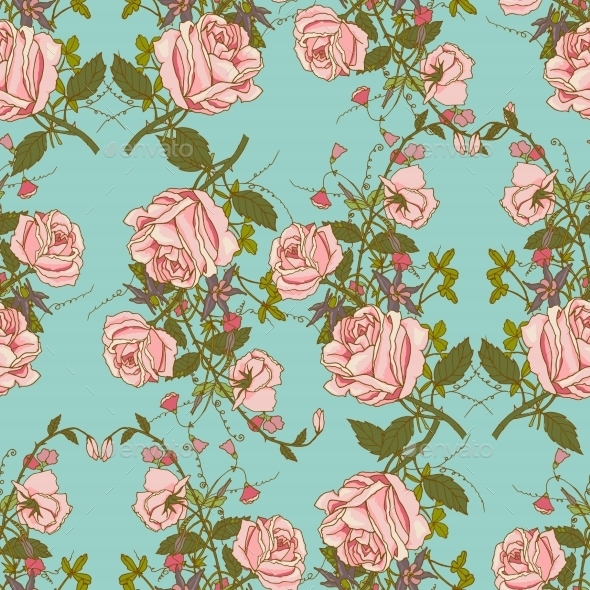 GraphicRiver Vintage Floral Seamless Color Pattern 9033823