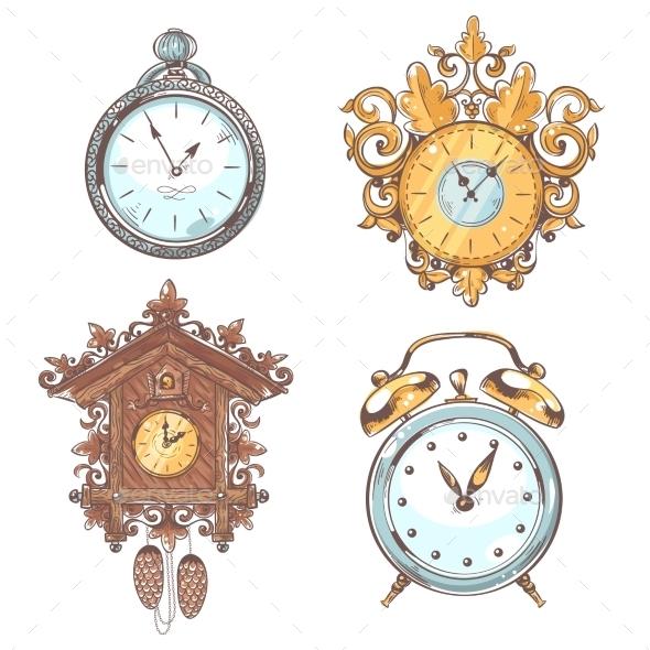 GraphicRiver Old Vintage Clock Set 9033826