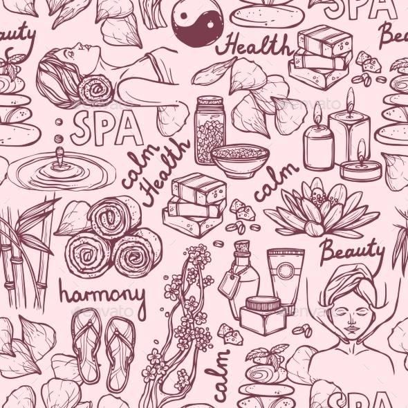 GraphicRiver Spa Sketch Seamless Pattern 9033839