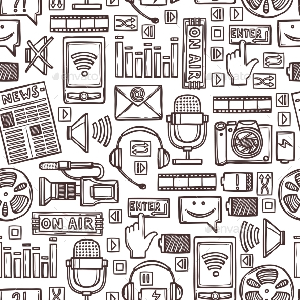 GraphicRiver Media Sketch Seamless Pattern 9033844
