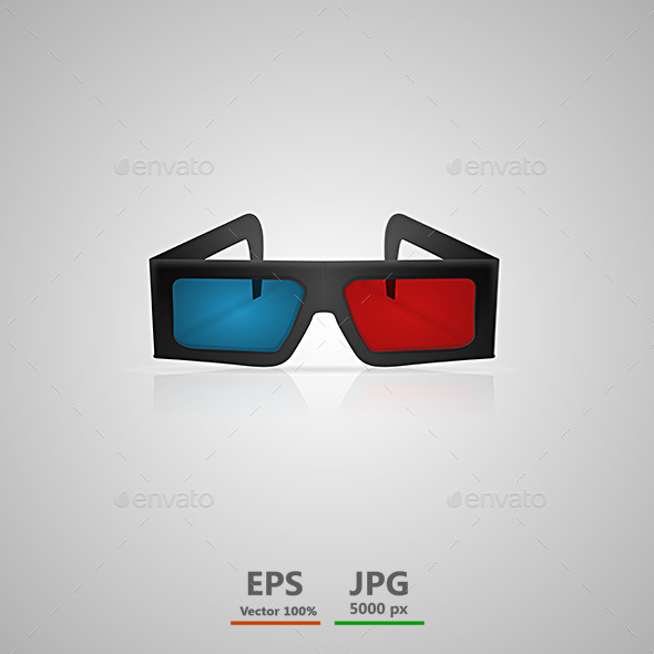 GraphicRiver Vector Illustration of Black 3D Cinema Glasses 9033852