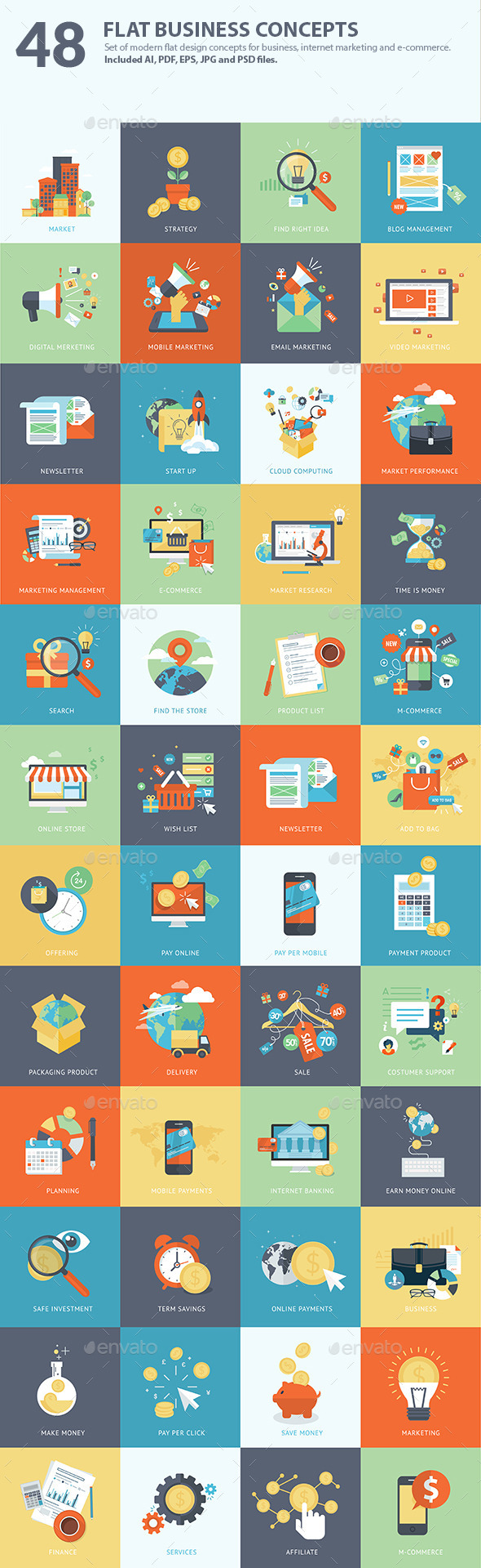 GraphicRiver Set of Flat Design Business Concepts 9024018