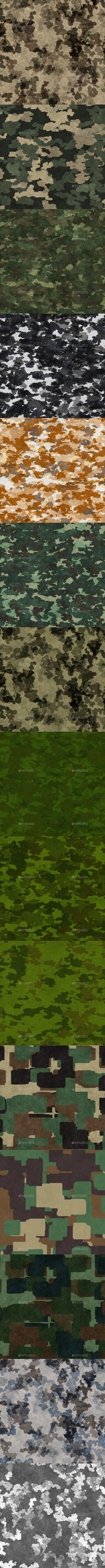 15 Tileable Camouflage Fabric Textures - 3DOcean Item for Sale