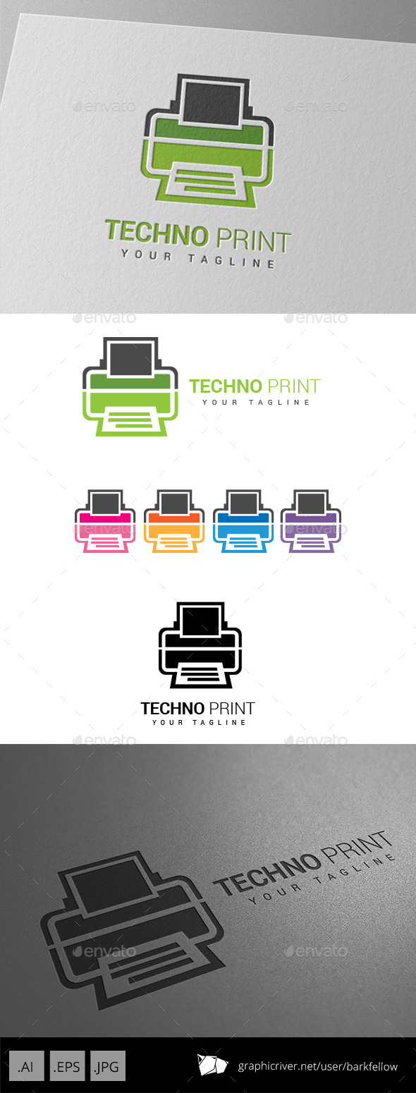 GraphicRiver Techno Printing Logo 9037254