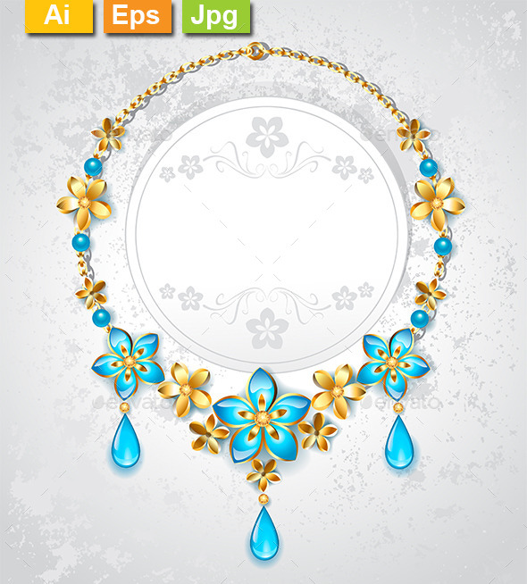 GraphicRiver Necklace with Gold Flowers 9025645
