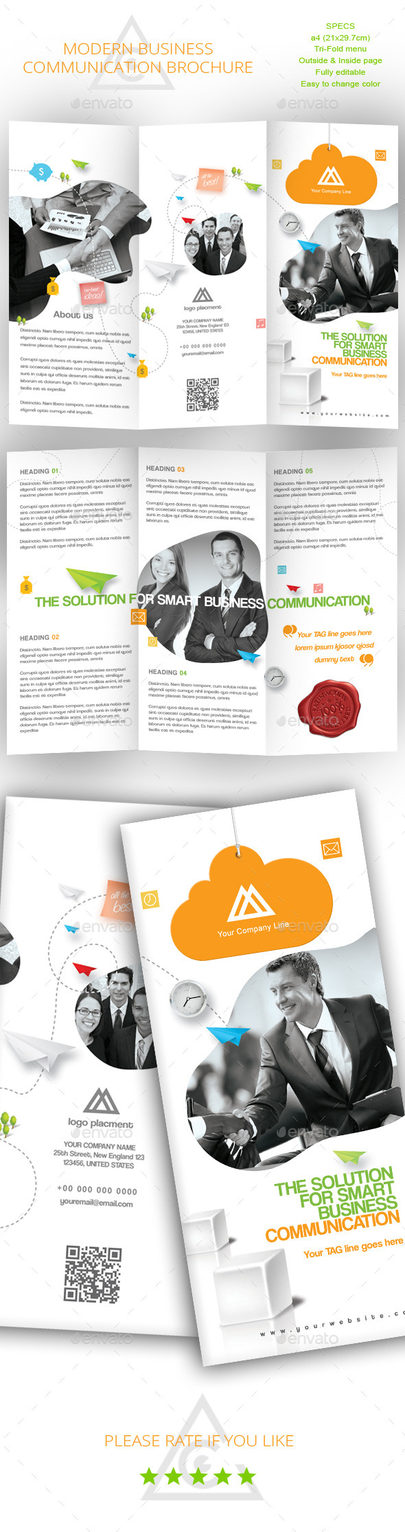 GraphicRiver Tri-fold Brochure for Business Communication 9040192