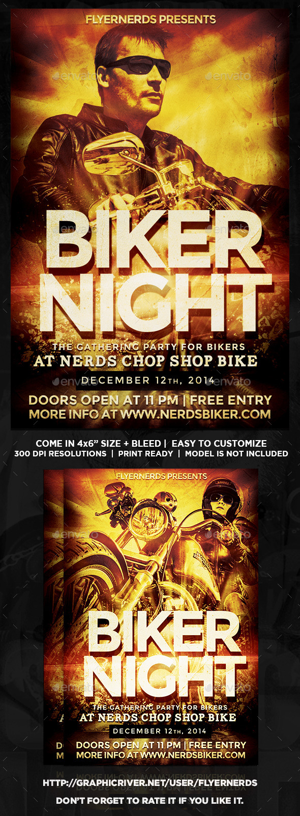 GraphicRiver Biker Night Gathering Party Flyer 9041249