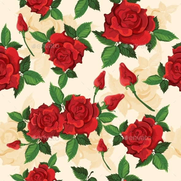 GraphicRiver Roses Seamless Pattern 9042892