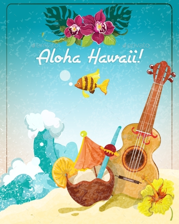 GraphicRiver Hawaii Guitar Vacation Poster 9042953