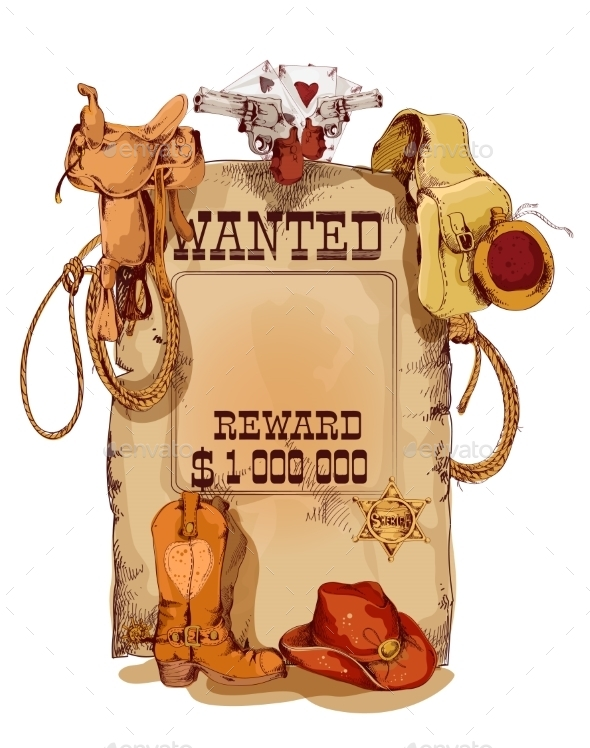 GraphicRiver Wanted Western Vintage Poster 9043158