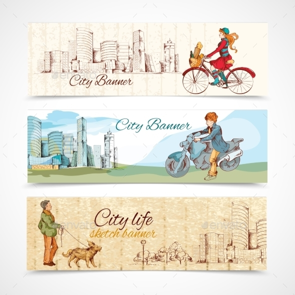 GraphicRiver Urban People Horizontal Banners Sketch Colored 9044182