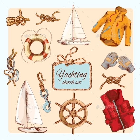 GraphicRiver Yachting Sketch Set 9044245
