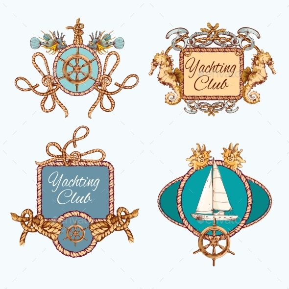 GraphicRiver Yachting Sketch Emblems Set 9044363