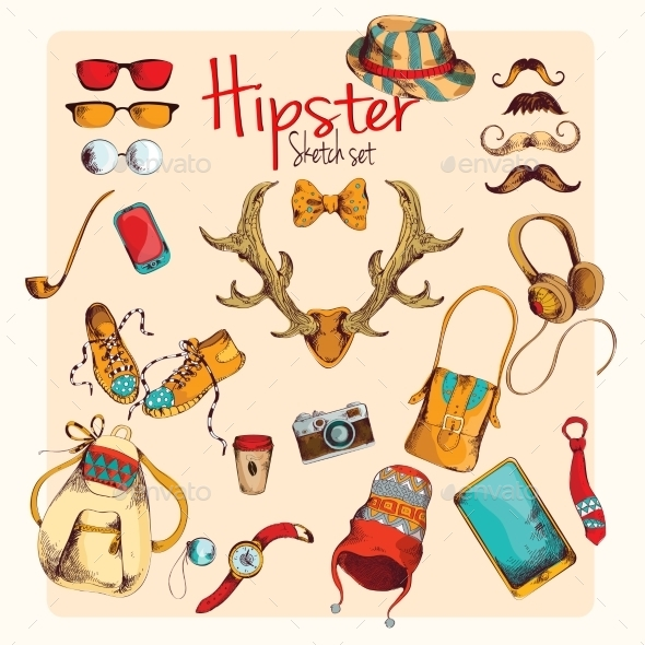 GraphicRiver Hipster Sketch Set 9044472