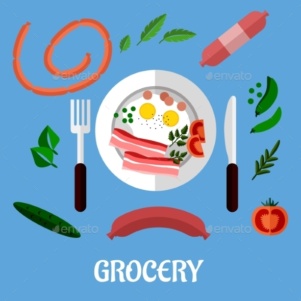 GraphicRiver Breakfast with Groceries Flat Design 9045242