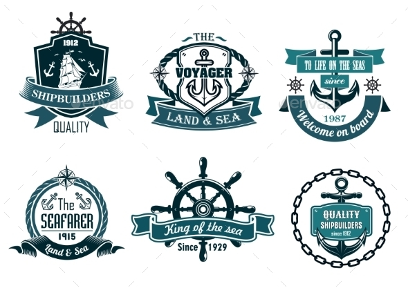 GraphicRiver Blue Nautical and Sailing Themed Banners or Icons 9050135