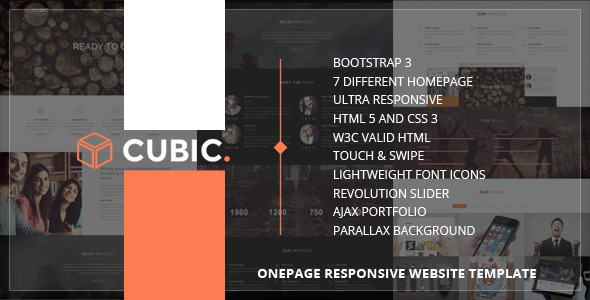 ThemeForest Cubic One Page Responsive HTML Template 7650531