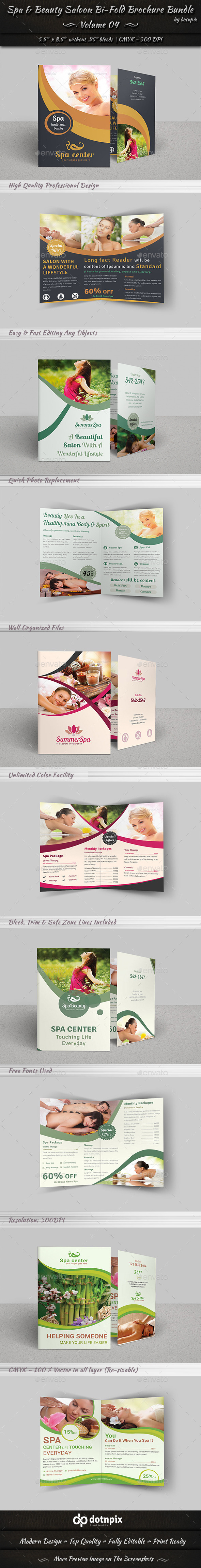 GraphicRiver Spa & Beauty Saloon Bi-Fold Brochure Bundle v4 9052741