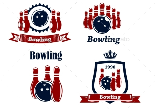 GraphicRiver Sporting Bowling Emblems and Symbols 9052860