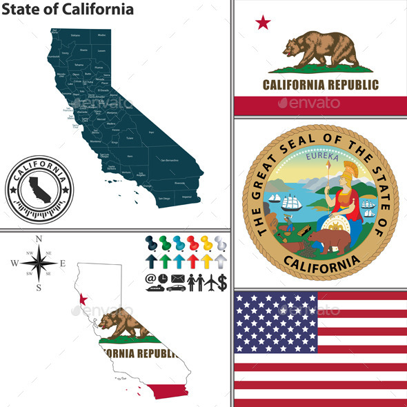 GraphicRiver Map of State California USA 9052890
