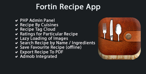 CodeCanyon Fortin Recipes App with PHP Admin Panel 9052909