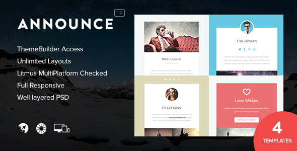 Announce - Responsive Emails + Themebuilder Access - Newsletters Email Templates